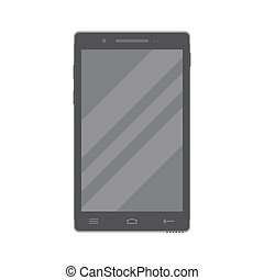 Dark smartphone in flat style isolated on a white background.