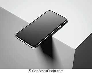 Dark smartphone on the box edge. 3d rendering