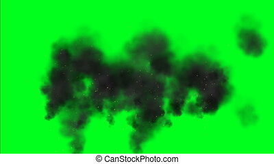 Dark smoke and sparks on green screen