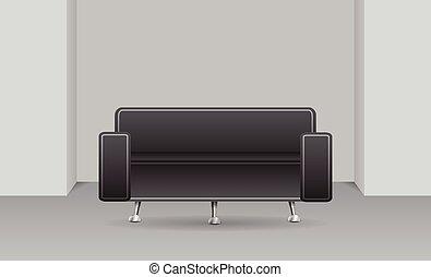 Dark sofa in a room