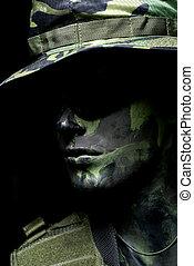 Dark soldier portrait with camouflage hat