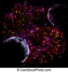 Dark space background with planets