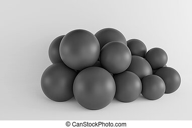 Dark spheres on a white background. 3d render