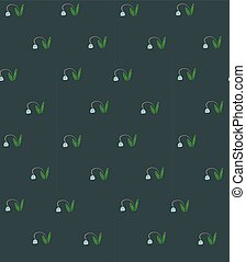 Dark spring floral seamless pattern with snowdrops