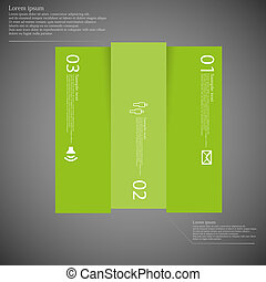 Dark square template infographic vertically divided to three green parts