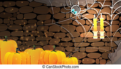 Dark stone dungeon. Halloween background. - Halloween...