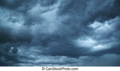 dark storm clouds are moving fast at viewer - timelapse