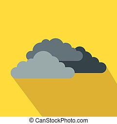 Dark storm clouds icon, flat style
