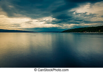 Dark storm clouds over Cayuga Lake, in Ithaca, New York.