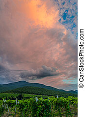 Dark storm clouds over the mountains