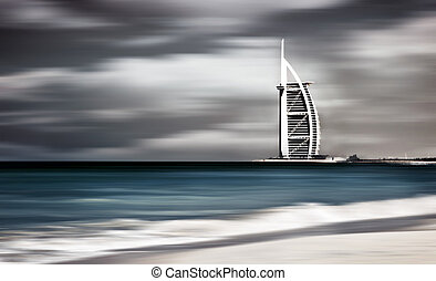Dark storm windy landscape of Dubai beach - Dark storm,...