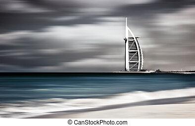 Dark storm windy landscape of Dubai beach