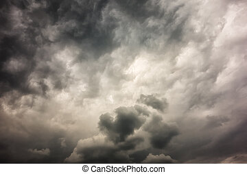 Dark stormy clouds - Stormy clouds on spring evening in...