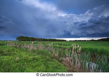 dark stormy sky over river