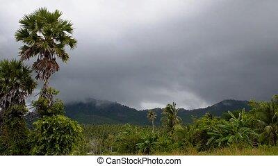 Dark Stormy Sky Over Tropical Island. Nasty Weather.