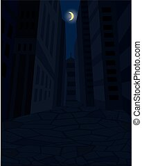 Dark street of city and the moon in the sky