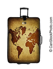 dark suitcase with world map isolated over white