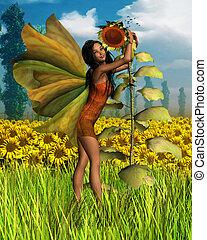 Dark Summer Sunflower Fairy