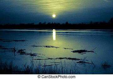 Dark Sunset at the lake in summer