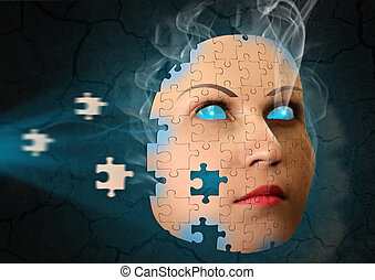 surreal abstract with human face