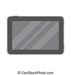 Dark tablet in flat style isolated on a white background.
