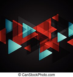Dark tech background with red blue triangles