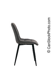 dark textile gray chair isolated on white background. modern dark gray stool side view. soft comfortable upholstered chair. interrior furniture element.