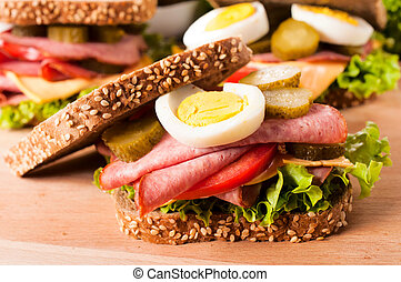 Dark toast sandwich