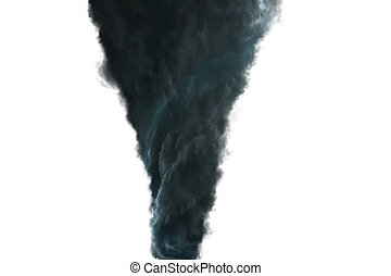 Dark Tornado on white background - View of a large tornado...