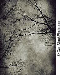 Dark trees - Dark grunge paper background with bare trees.