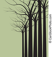 trees - dark trees without leaves on green background