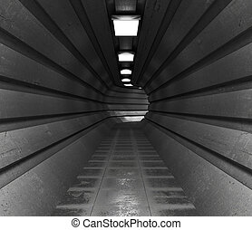 dark tunnel, a long corridor of round shape lightened with light. 3d illustration