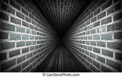 Dark tunnel with brick walls and wooden floor