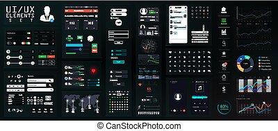 Dark UI Elements Big Set. Interface Mockup for Mobile