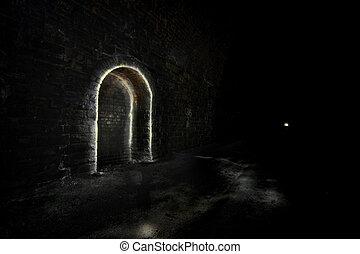 Dark Underground Tunnel refuge - Passing place or refuge....