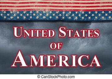 Dark United States of America type message with retro USA stars and stripes burlap ribbon