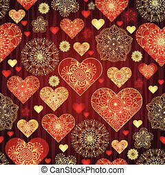 Dark valentine pattern with shiny red and gold vintage hearts