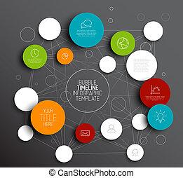 Dark Vector abstract circles infographic template - Dark...