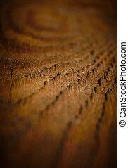 Dark vintage wood texture, shallow DOF.