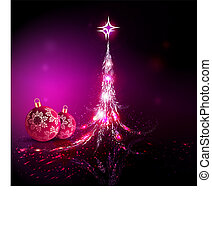 Christmas background with a silhouette of a shiny abstract Christmas tree and Christmas balls with snowflakes.