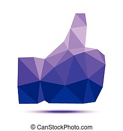 Dark violet geometric triangular polygonal thumb up icon