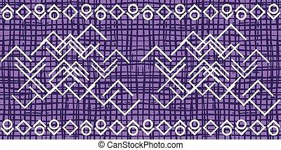 Dark violet irregular grid pattern with white ornament....