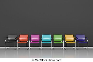Colored stools in dark waiting room