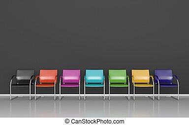 Dark waiting room - Colored stools in dark waiting room