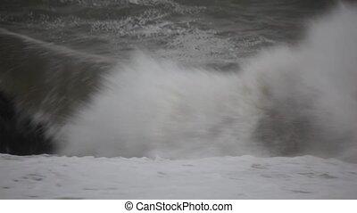 dark water of sea in storm, dull weather