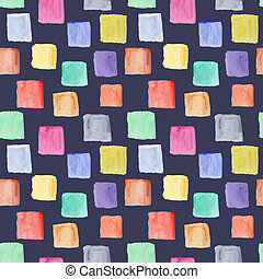 Dark watercolor pattern with colorful squares