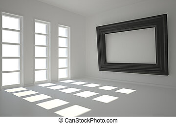 Dark white room with frame at wall