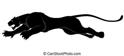 dark wild cat jump to the right