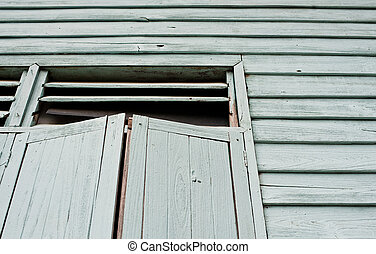 dark windows in old haunted house, abstract retro