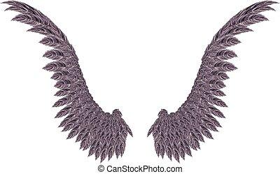 Dark Wings - Pair of detailed dark angel wings on white ...